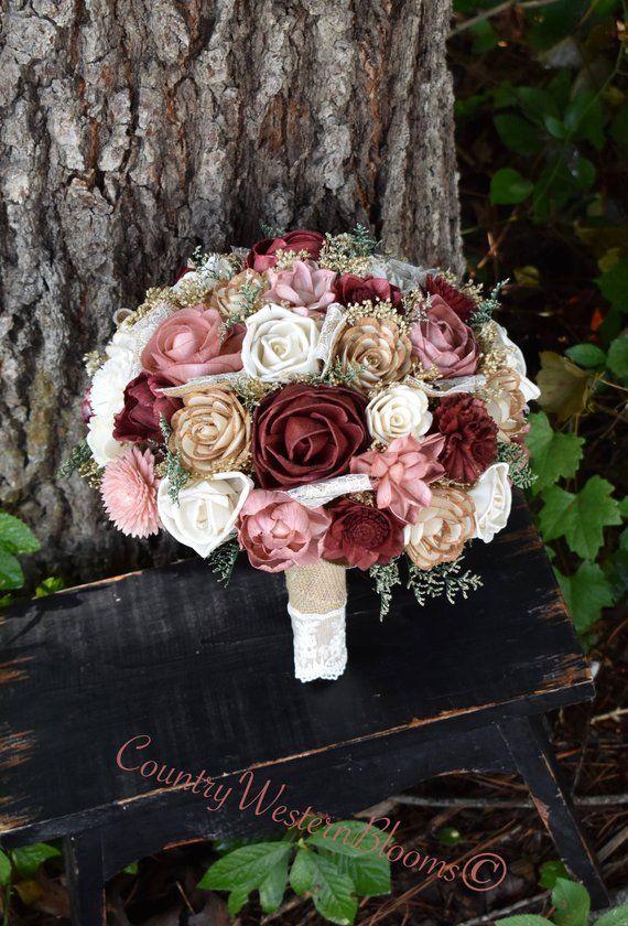 Wedding Bouquet Burgundy Bouquet Dusty Pink Bouquet Brooch Bouquet Sola Bouquet Dusty Pink Burgundy Bouquet Brooch Gold Burgundy Sola