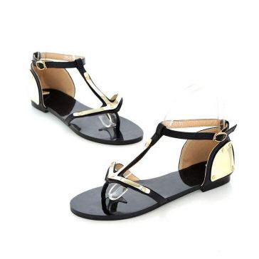 Rock Punk Low Heel Sandals with Gold Plate Party/Evening Shoes Free Shipping