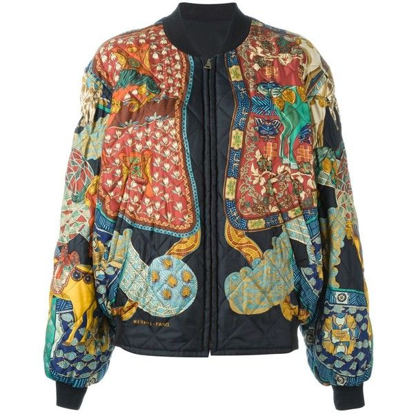 Hermès Vintage Reversible Bomber Jacket (€1.735) ❤ liked on Polyvore featuring outerwear, jackets, black, silk bomber jacket, straight jacket, flight jacket, bomber jacket and quilted bomber jacket