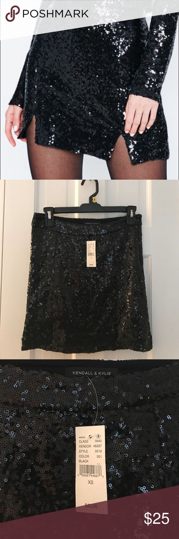 Black Sequin Mini Skirt - Kendall & Kylie Super cute sequin covered mini skirt that is too small for me but deserves to be shown off! XS Kendall & Kylie Skirts Mini