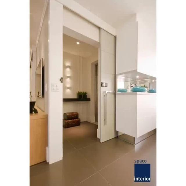 Hall de entrada com porta de correr, uma maneira de otimizar espaço🚪 | Projeto Spaço Interior 📐📏📝🖍 | ...