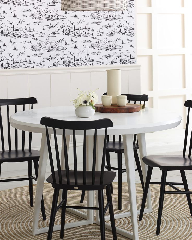 the modern kitchen nook tucker chair via serena lily toile wallpaperjute rugbreakfast nooksdining tabledining - Tucker Dining Room Set