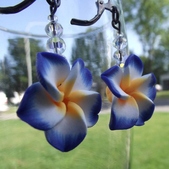 Earrings Blue Hawaiian / Blue Hawaiian Earrings by ElLunarBijoux