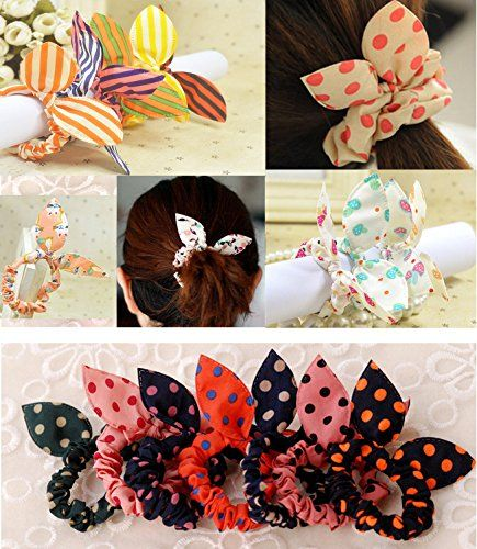 IFfree 24Pcs Cute Girls Rabbit Ear Hair Tie Bands Ropes Ponytail Holder, Multicolor, Random styles >>> Want additional info? Click on the image.