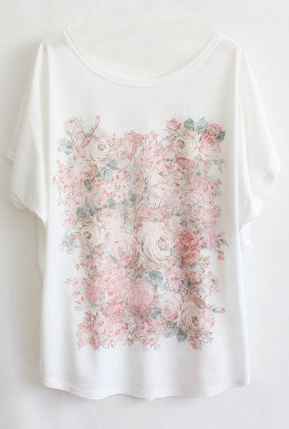 Shop White Batwing Short Sleeve Flowers Print T-Shirt online. Sheinside offers White Batwing Short Sleeve Flowers Print T-Shirt & more to fit your fashionable needs. Free Shipping Worldwide!