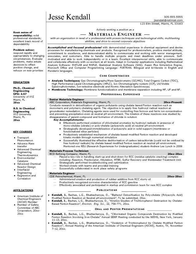 resume sample of a materials engineer with demonstrated experience in chemical equipment and devise processes for manufacturing chemicals and products - Post Production Engineer Sample Resume