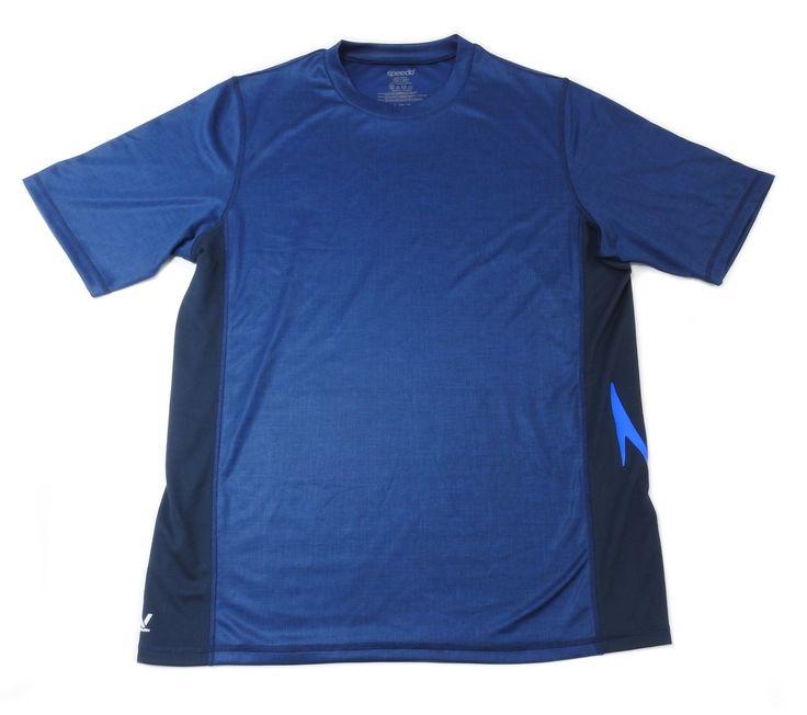 Speedo Mens Size Large Crew Neck Block The Burn UV Shirt, New Navy