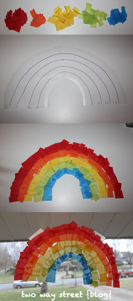 Stained Glass Rainbow.  Tissue paper on clear contact paper.  easy activity for toddlers and preschoolers.