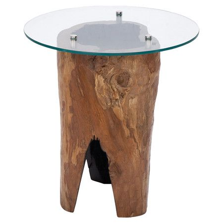 Glass-topped end table with a hollow log-inspired teak wood base.  Product: End tableConstruction Material: Teak wood...