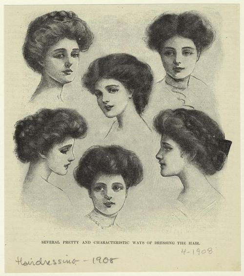 Several Pretty And Characteristic Ways Of Dressing The Hair, 1908.
