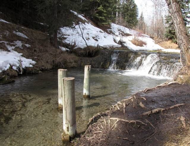 Cascading white water above the remains of the old creamery at Big Hill Springs Provincial Park near Airdrie, Alberta, Canada.  #Airdrie #MLI #ESL #LearnEnglish #Canada #AB #Homestay #StudyinCanada