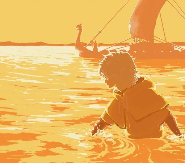 thorfinn vinland saga | water sunset thorfinn wading ocean vinland saga white hair viking ...