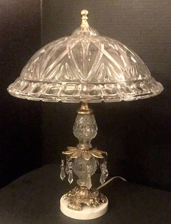 Amazing Vintage 19 Lead Crystal Italian Boudoir Lamp Table Lamp