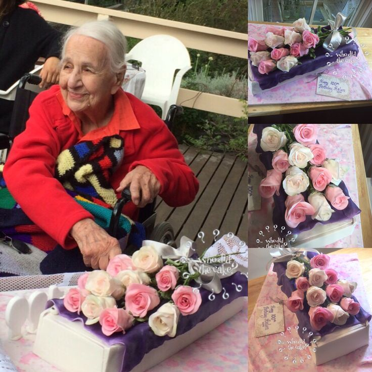 100th birthday cake, flower presentation box cake with sugar flowers