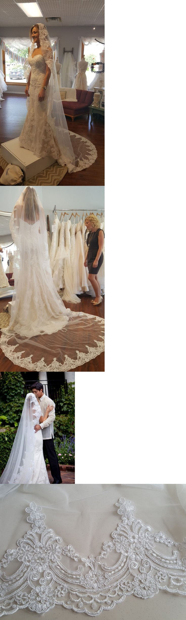 Bridal Accessories: Bridal Mantilla Cathedral Lace Veil With Comb /White Or Light Ivory BUY IT NOW ONLY: $129.99