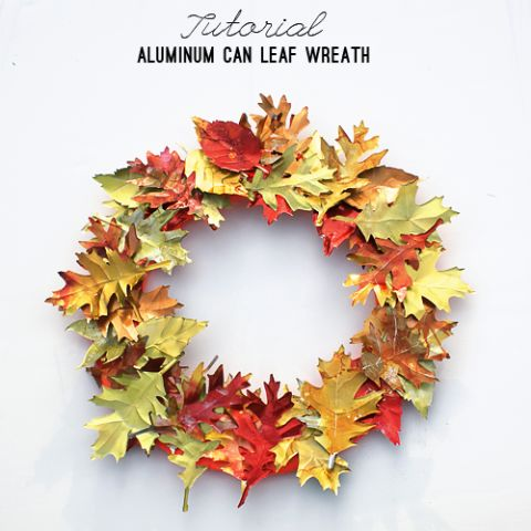 You don't have to petrify fallen leaves to preserve the best autumn colors; this wreath is actually made out of pliable aluminum cans.