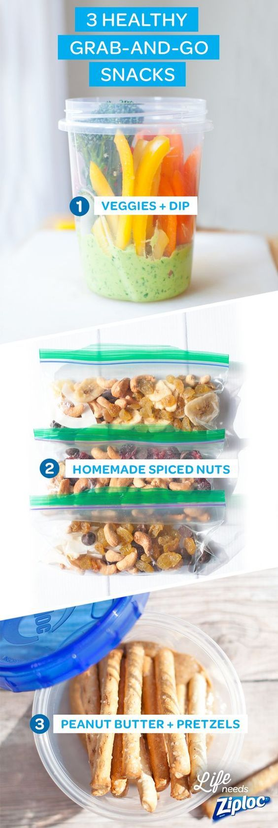 Fast food doesn't have to be bad food. Stay prepared for life's hungry, hurried moments with quick and healthy on-the- go snacks like veggies and dip, mixed nuts, and peanut butter with pretzel sticks stored in Ziploc® brand bags and containers.
