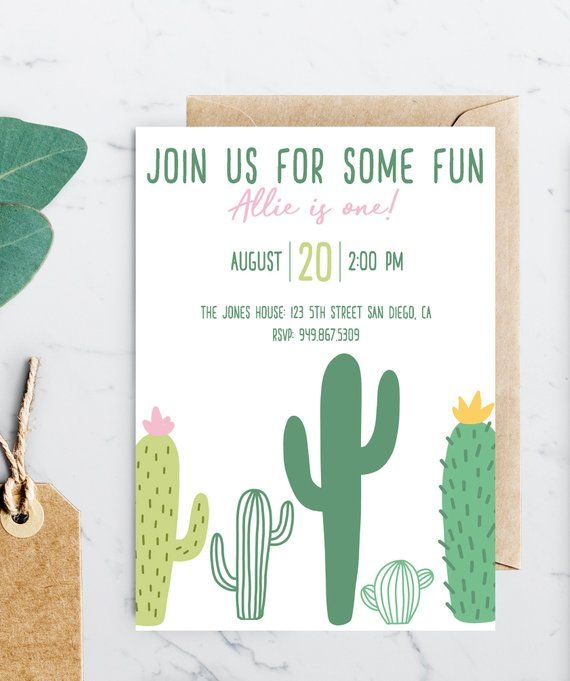 Cactus Birthday Party Invitation Instant Download
