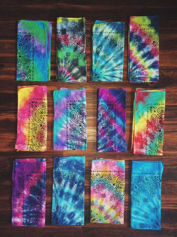 Handmade Tie Dye Bandana by thetiedyehippie on Etsy