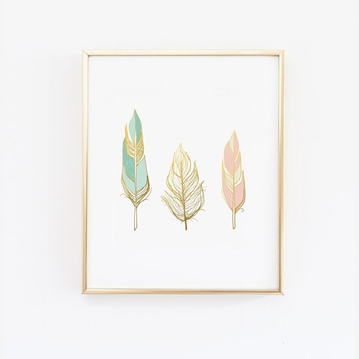 Three feathers in blush teal and gold - Faux Gold Foil - Wall Print