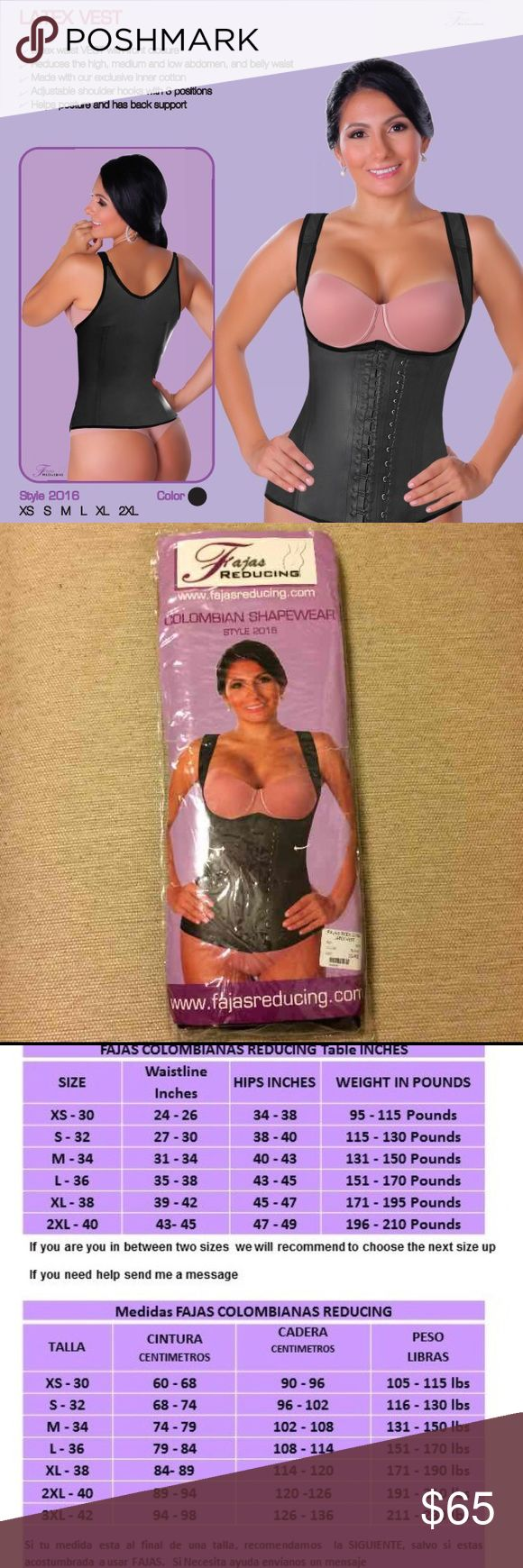 Ref. 2016 - Latex Vest Made in Colombia Style 2016 Color: Black Material: Latex Sizes XS, S, M, L, XL, 2XL, 3XL  - Reduce your size - Reduces the high, medium, and low abdomen, belly waist - Help posture and back support - Adjustable hooks with 3 positions Intimates & Sleepwear Shapewear