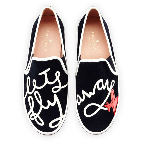 """kate spade new york stefy """"let's fly away"""" suede skate sneaker found on Polyvore featuring shoes, sneakers, flats, navy, kate spade shoes, navy flats, kate spade flats, slip on shoes and slip on sneakers"""