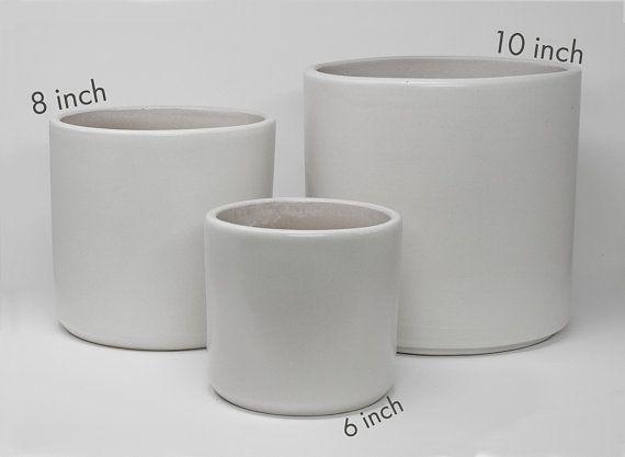 Matte White Cylinder Planter Optional Saucer Indoor Modern Etsy Planters Modern Flower Flower Pots