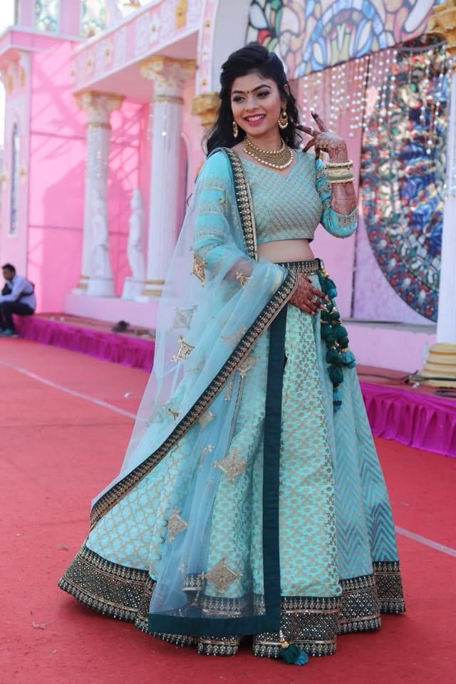 d28a40cb07 Love this mint blue lehenga with contrast deep green latkans from Surat.  #Frugal2Fab