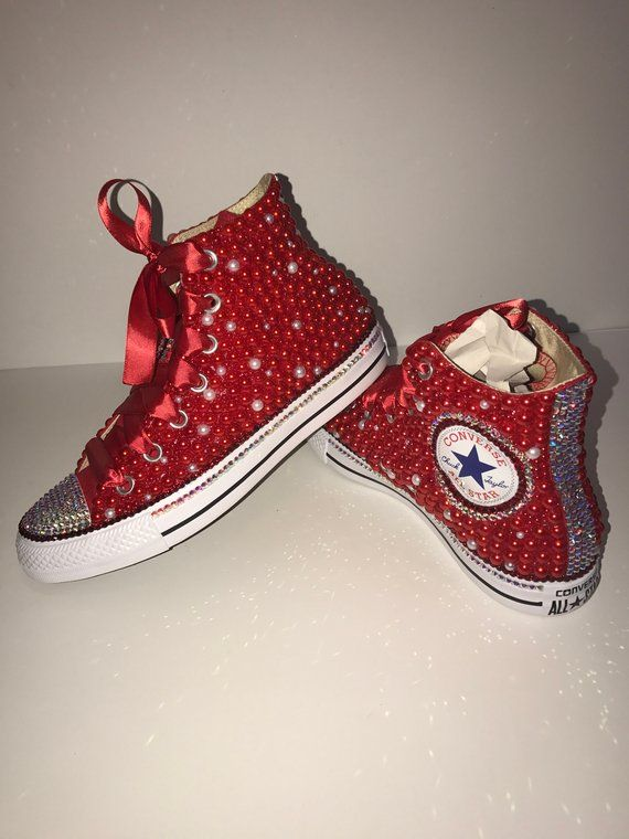 a7a764df25c4d WOMEN's Red Bling Converse All Star Chuck Taylor Sneakers HIGH TOP ...