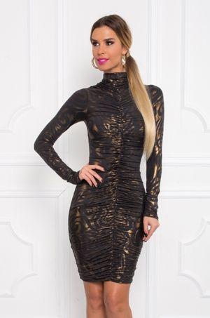 Puzdrové šaty s dlhým rukávom, zlatou potlačou, stojačikom, zaujímavý strihom - nariasenie v prednej aj zadnej časti v strede šiat, nariasenie na rukávoch. Šaty sú ušité z elastického materiálu, krásne obopnú ženské krivky. Vhodné na večierky, párty či spoločenské udalosti.
