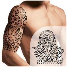 Polynesian halfsleeve tattoo