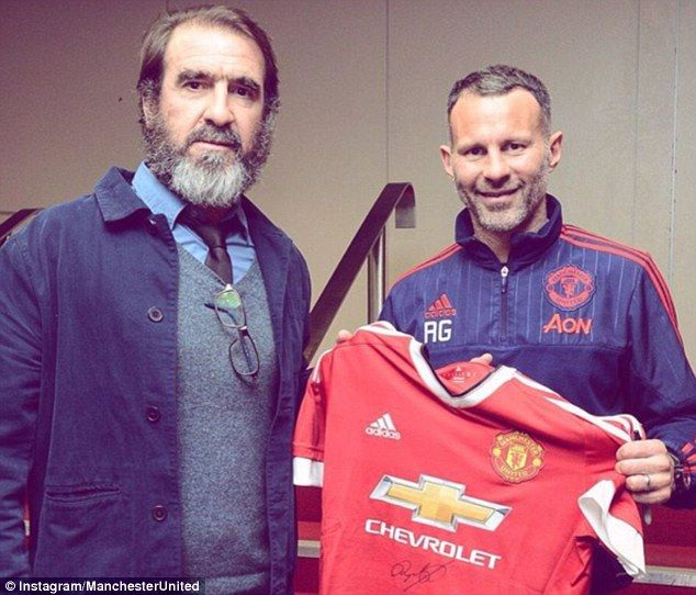 Manchester United legends Eric Cantona (left) and Ryan Giggs were reunited at Old Trafford on Sunday