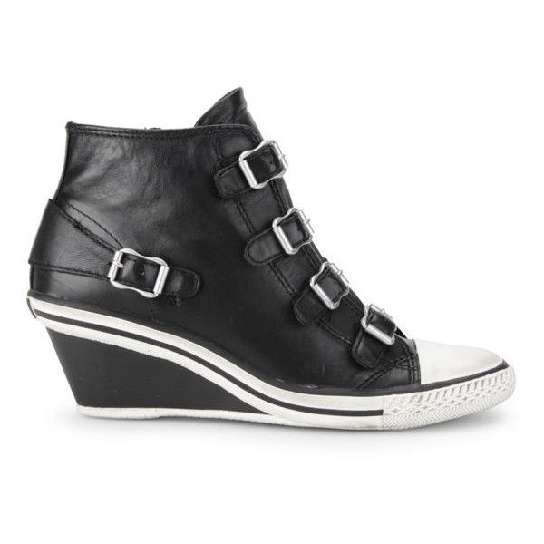 Ash Women's Genial Wedged Leather Trainers (290 AUD) ❤ liked on Polyvore