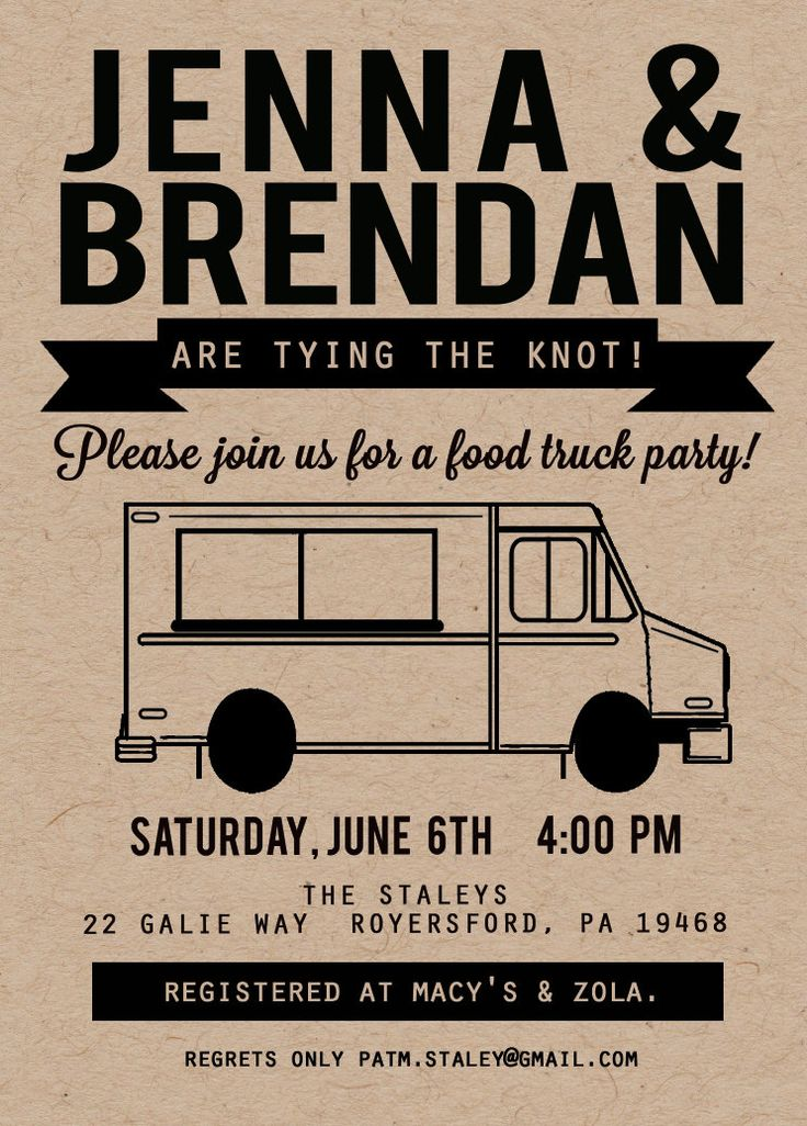 Food Truck Invitation, Kraft Invitation, Couple Shower Invitation, Food Truck Party Invitation, Rehearsal Dinner Invitation by kjoyeldridgeshop on Etsy https://www.etsy.com/listing/163938326/food-truck-invitation-kraft-invitation