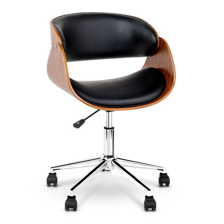 PU Leather Curved Office Armresst 360 Degree Swivel Seat Chair Gas Lift