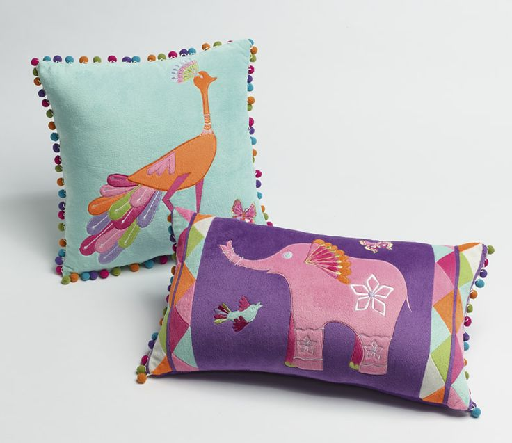 'Peacock Princess' accessories! Gorgeous printed cushions with pom poms!! <3