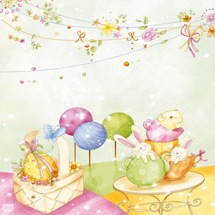 Biglietto d'auguri per Pasqua - Una ghirlanda di fiori freschi e profumati, un uovo di cioccolato, un pulcino e alcuni coniglietti bianchi per augurare Buona Pasqua a chi vuoi bene.