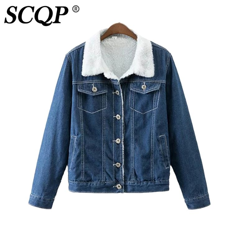 SCQP Lambswool Korean Lady Denim Jackets Fashion Single Breasted Jean Women Jackets Winter Warm Cowboy Casual Women Basic Coats #Affiliate