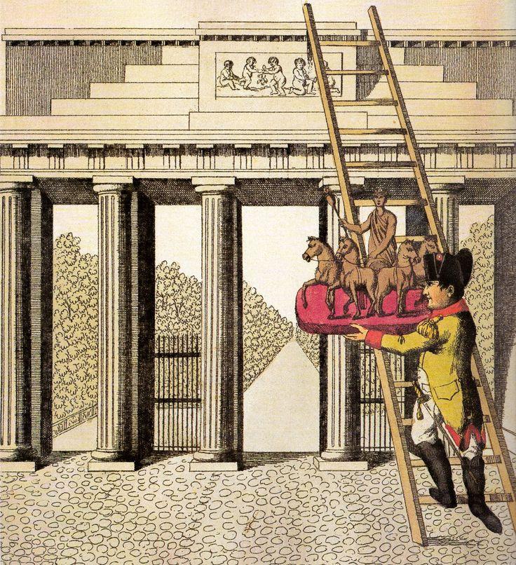 karikatur napoleon raubt die quadriga vom brandenburger tor 1806 was gab 39 s und wo. Black Bedroom Furniture Sets. Home Design Ideas