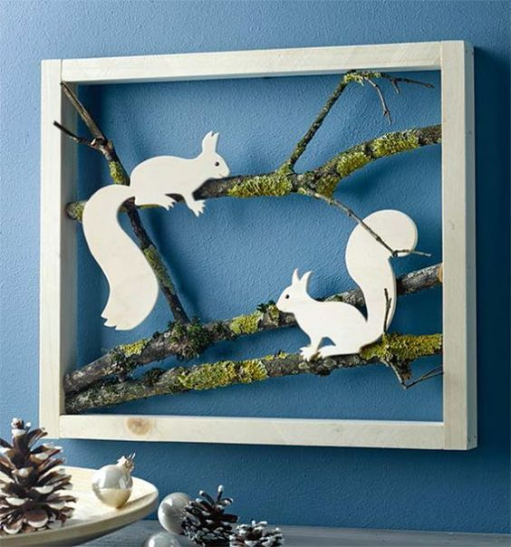 I like the way the frame is backless so it shows thru to the wall. The contrast between the paper and the mossy twigs is nice, too. (maybe do this with a bird silhouette?)