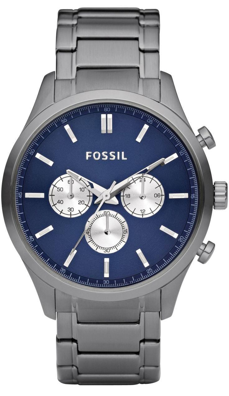 Fossil Men's FS4631 Walter Plated Stainless Steel Smoke Bracelet Blue Dial Watch < $97.94 > Fossil Watch Men