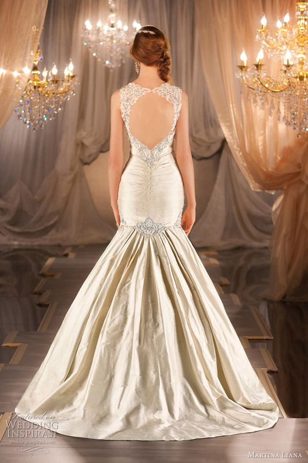 martina liana 2012 mermaid wedding dress Train is a little too much for me.