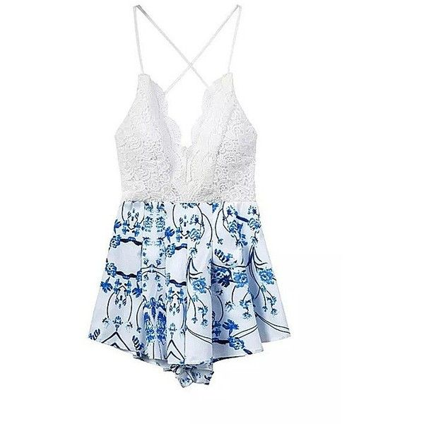 Yoins Floral Printing Strap Back Lace Romper (1,370 INR) ❤ liked on Polyvore featuring jumpsuits, rompers, dresses, yoins, blue, jumpsuits & rompers, white lace jumpsuit, white floral romper, floral jumpsuit and floral rompers