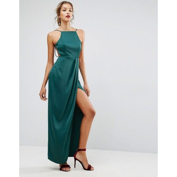 ASOS Drape Front Delicate Back Maxi Dress (135 AUD) ❤ liked on Polyvore featuring dresses, green, maxi dresses, spaghetti strap dress, open back maxi dress, prom dresses and night out dresses