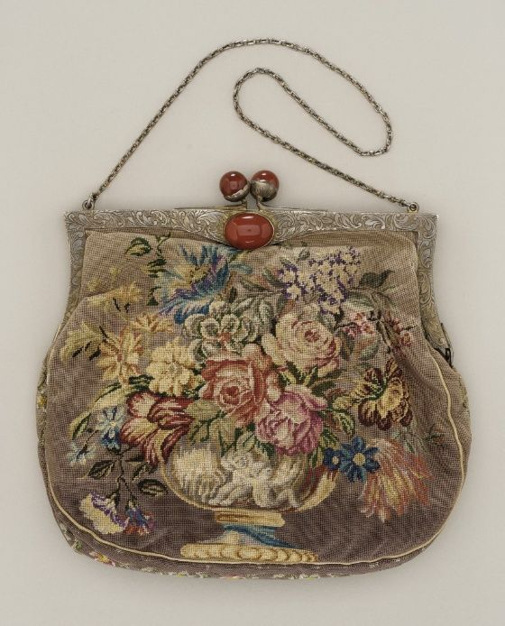 Austrian handbag - c. 1920's - Silk embroidery, sterling silver, silk faille - The Los Angeles County Museum of Art