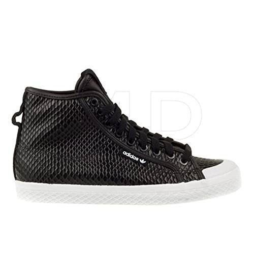 Adidas Women's Honey Mid W Black with a fun snake print. Rubber sole Color  CBlack Style Rubber Non-Marking Soles High-Top