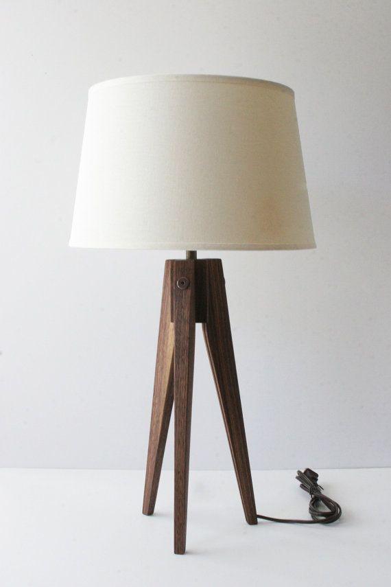 Table Lamp Tripod Slim  Walnut by naturalgrain on Etsy