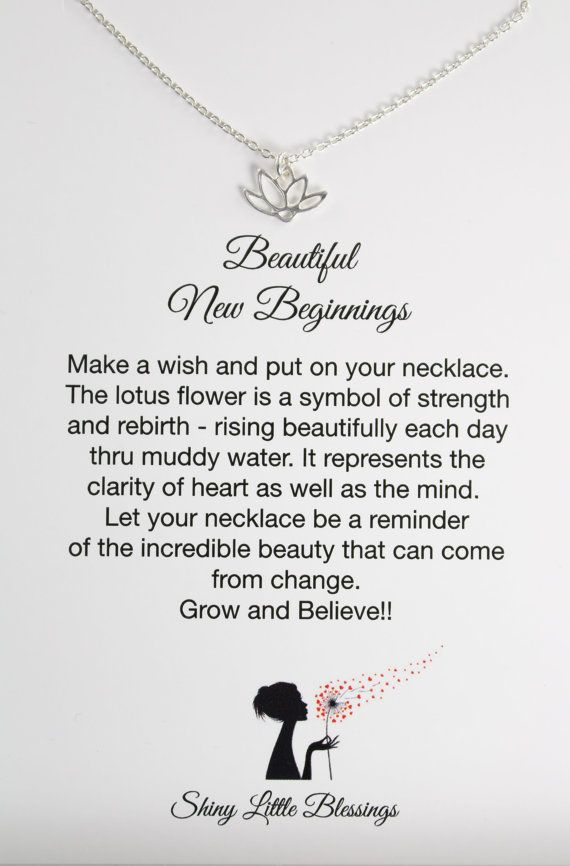 Lotus Necklace and Card, Encouragement Gift for New Beginnings, 925 Sterling Silver by Shiny Little Blessings.
