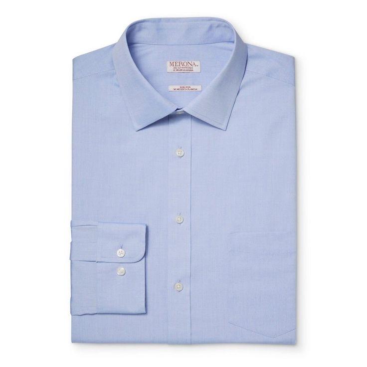 Men's Big & Tall Button Down Dress Shirt Blue 2XB Tall - Merona