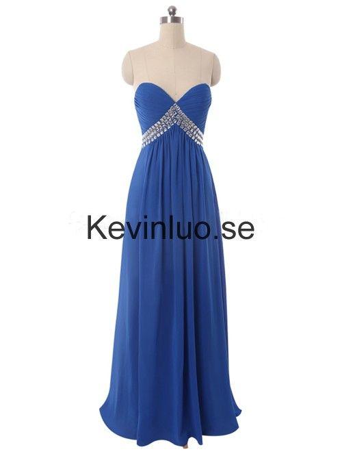 Kungsblå älskling A-linje Golv-längd Chiffong Balklänningar